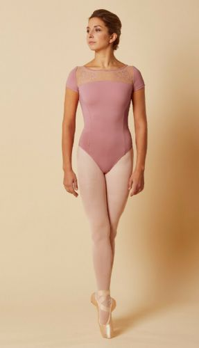 Mirella by Bloch Ladies Dance Cap Sleeved Embroidered Mesh Leotard M5085 Rose